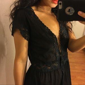 surrealist black mesh lace sheer top
